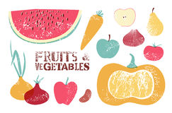 Collection of retro fruits and vegetables. Vector illustration. Royalty Free Stock Photos