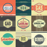 Collection of Retro Gasoline Signs Royalty Free Stock Images