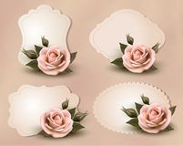 Collection of retro greeting cards with pink rose. Vector illustration Royalty Free Stock Images