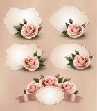 Collection of retro greeting cards with pink rose. Vector illustration Stock Image