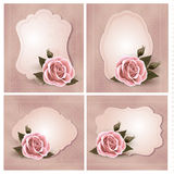 Collection of retro greeting cards with pink rose. Stock Image