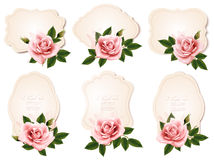 Collection of retro greeting cards with pink roses. Stock Images
