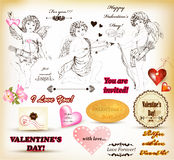 Collection of retro  hand drawn  elements  for Valentine's day Stock Image