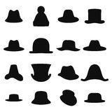 Collection of retro hats silhouette. Top hat  on white. Vector illustration Stock Images