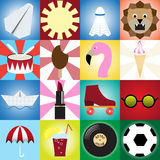 Collection of retro icons for design.flat style Royalty Free Stock Images