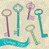 Collection of retro keys Royalty Free Stock Images