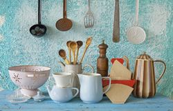 Collection of retro kitchenware Royalty Free Stock Photography