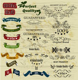 Collection of retro labels best, original genuine and high quality on wooden texture vector illustration