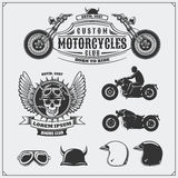 Collection of retro motorcycle labels, emblems, badges and design elements. Helmets, goggles and motorcycles. Vintage style. Monochrome design Royalty Free Stock Photos