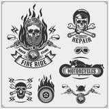 Collection of retro motorcycle labels, emblems, badges and design elements. Vintage style. Stock Photo