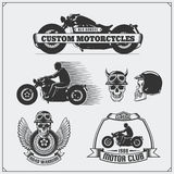 Collection of retro motorcycle labels, emblems, badges and design elements. Vintage style. Monochrome design Stock Photo