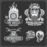 Collection of retro motorcycle labels, emblems, badges and design elements. Vintage style. Monochrome design Stock Photography