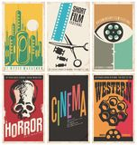 Collection of retro movie poster design concepts and ideas. Vintage cinema posters set. Western movies, documentary film, horror, science fiction, short film stock illustration