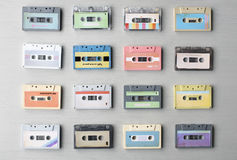 Collection of Retro Music Audio Cassette Tape 80s. Collection of Retro Music Audio Cassette Tape stock photos