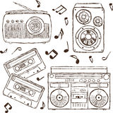 Collection of retro music hand-drawn illustration Stock Image
