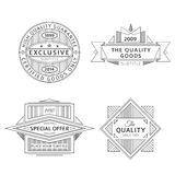Collection of retro outline vintage style labels and banners. Set of retro ribbon vintage style labels and banners black color design Royalty Free Stock Images