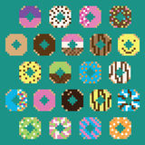 Collection of retro pixel donuts in vector. Collection of retro pixel donuts in various flavors in vector Royalty Free Stock Photo