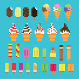 Collection retro pixel ice cream in vector. Collection of vector retro game pixel ice cream in various flavors Royalty Free Stock Photography