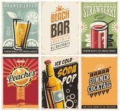 Collection of retro posters with organic juices and popular drinks. Cafe bar vector ads and promotional brochures on old paper texture. Summer theme stock illustration