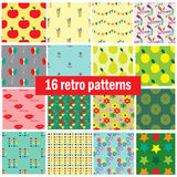 Collection with 16 retro seamless patterns Royalty Free Stock Photos