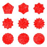 Collection retro stars shapes. Red sparkles. Vintage postal stamps and postmarks Stock Photography