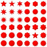 Collection retro stars shapes. Red sparkles. Vintage postal stamps and postmarks Stock Photos