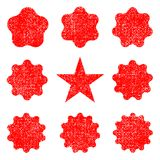 Collection retro stars shapes. Red sparkles. Vintage postal stamps and postmarks Royalty Free Stock Photos