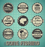 Gone Fishing Labels and Icons. Collection of retro style Gone Fishing labels and icons Royalty Free Stock Images