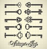 Vintage Key Silhouettes Stock Photo
