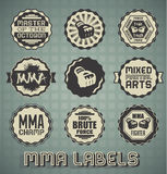 Mixed Martial Arts Labels. Collection of retro style MMA labels and icons Stock Images