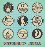 Pregnancy Labels and icons. Collection of retro style pregnancy labels and icons Royalty Free Stock Photos