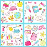 Collection retro vector seamless patterns stock illustration