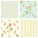 Collection retro vector seamless patterns in shabby chic style Royalty Free Stock Photos