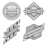Collection of retro vintage style labels and banners. Set of retro outline ribbon vintage style labels and banners in black color design Royalty Free Stock Photos