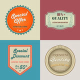 Collection retro vintage styled discount labels Stock Images