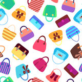 Collection of Retro Woman Bags Seamless Background Stock Photos