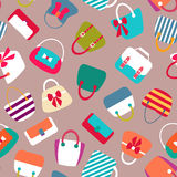 Collection of Retro Woman Bags Seamless Background Stock Photography