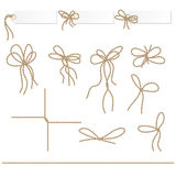 Collection of ribbons ahd bows in rope style Royalty Free Stock Photos