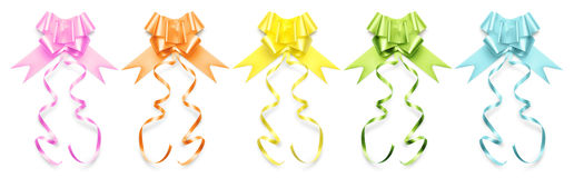 Collection of ribbons bows in shiny colors on white background Royalty Free Stock Photos