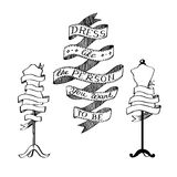 Collection of ribbons with the inscription and tailors dummies with ribbon for your text. Stock Images