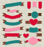 Collection ribbons, vintage labels, geometric embl Stock Images