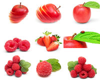 Collection of ripe berry, fruits  on white Royalty Free Stock Images