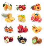 Collection of ripe fruits images Royalty Free Stock Photography