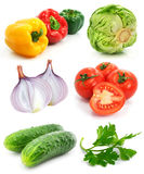 Collection of ripe fruits vegetables isolated Stock Photos