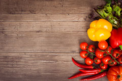 Collection of ripe fruits and vegetables. On the kitchen table. Top vie. Copy space left. Horizontal Royalty Free Stock Photography