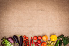 Collection of ripe fruits and vegetables. On the kitchen table. Top vie. Copy space at the top. Horizontal Royalty Free Stock Photos