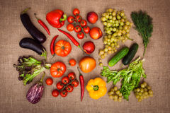 Collection of ripe fruits and vegetables. Still life of ripe fruits and vegetables on the sack background. Top view. Horizontal Royalty Free Stock Image