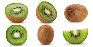 Collection ripe kiwi fruit, whole, cut in half, slice. Isolated on white background. Clipping Path. Full depth of field royalty free stock images