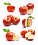Collection of ripe red apples stock photos