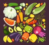 Collection of ripe vegetables. Vector illustration of a collection of ripe vegetables herbs and fruits chopped slices on a black background isolated set Royalty Free Stock Photos